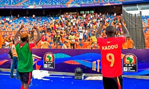 Uganda's forward Patrick Kaddu greets the fans after winning their opening Africa Cup of Nations match against Congo.