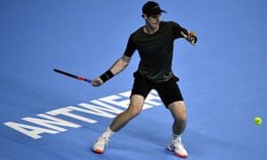 Andy Murray returns against Kimmer Coppejans in Antwerp