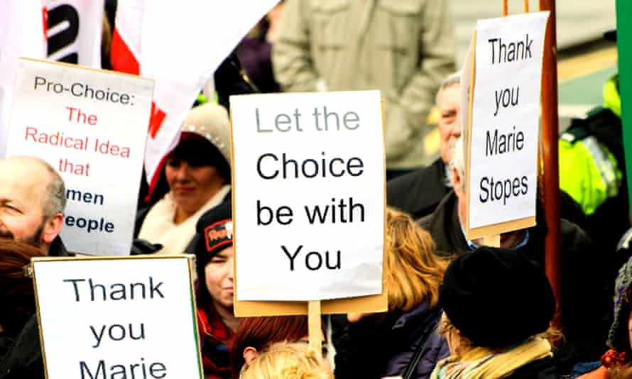 A pro-choice campaigner in Belfast.