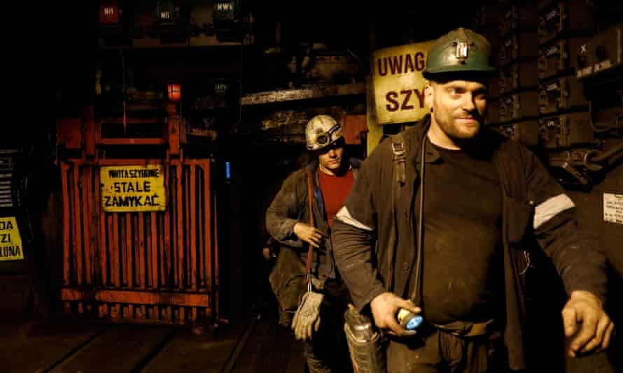 Miners leave the Wieczorek coal mine in Katowice, Poland.