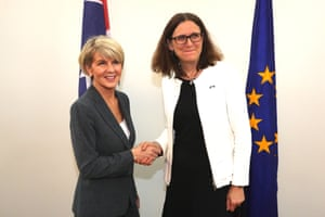 Foreign minister Julie Bishop meets Cecilia Malmström, EU trade commissioner in a committee room of parliament house in Canberra this morning,