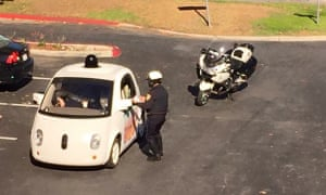 A Google car is pulled over by the police