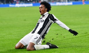 Juan Cuadrado in mid-celebration after scoring a thunderous winning goal for Juventus.