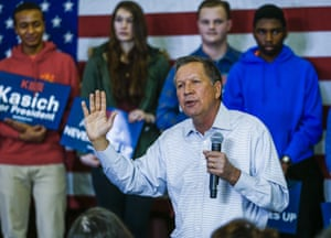 John Kasich campaigns in Monroe, Michigan.