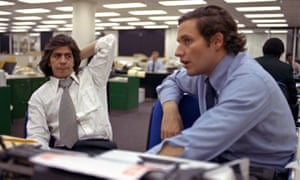 Reporters Bob Woodward, right, and Carl Bernstein, whose reporting of the Watergate case won them a Pulitzer Prize, in the Washington Post newsroom in 1973.