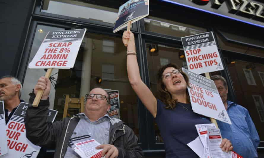 A union protest outside the Soho branch of Pizza Express