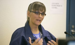 Inmate Michelle-Lael Norsworthy speaks during her parole hearing at Mule Creek State Prison in Ione, California, in May.