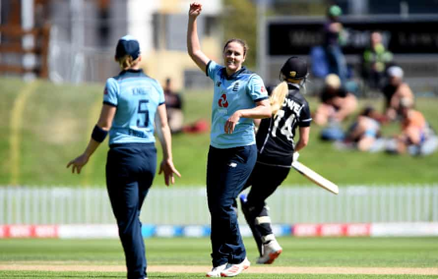 England's Nat Sciver celebrates a New Zealand wicket