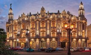 Exterior shot, at dusk, and with its baroque facade illuminated, this image shows the Gran Teatro de la Habana Alicia Alonso, Havana, Cuba.