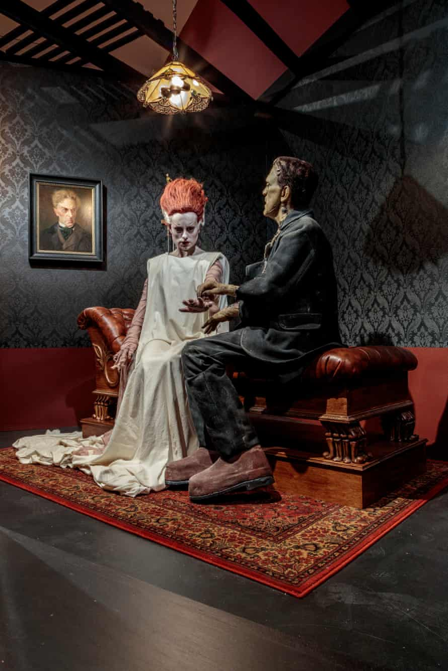 Hill's sculpture of Frankenstein and his bride.