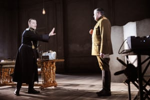 Anthony Calf (The Hetman) and Conleth Hill (Leonid) in The White Guard at the National Theatre.