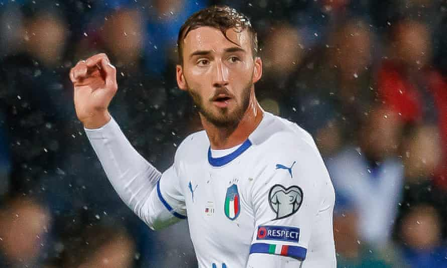 Bryan Cristante, pictured in action for Italy last October, has had Mikel Arteta's scouts sniffing around him.