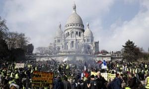Protesters in Paris at Sacre-Coeur church