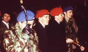 Noel Little (far right) at a rally alongside Peter Robinson (second from left).