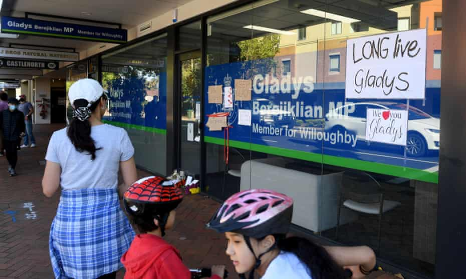 Messages on the windows of the electoral office of Gladys Berejiklian