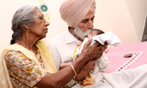 Amritsar, India Daljinder Kaur, 72 and her husband Mohinder Singh Gill, 75, with their baby son Arman Singh. The baby was born after two years of IVF