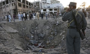 A crater in front of the German embassy in Kabul created by the huge explosion on 31 May.