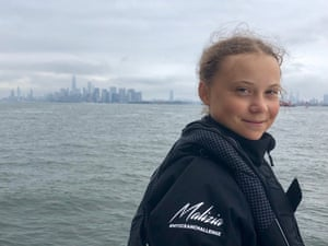 Swedish 16-year-old activist Greta Thunberg arrives in Manhattan on the Malizia II racing yacht as she completes her trans-Atlantic crossing