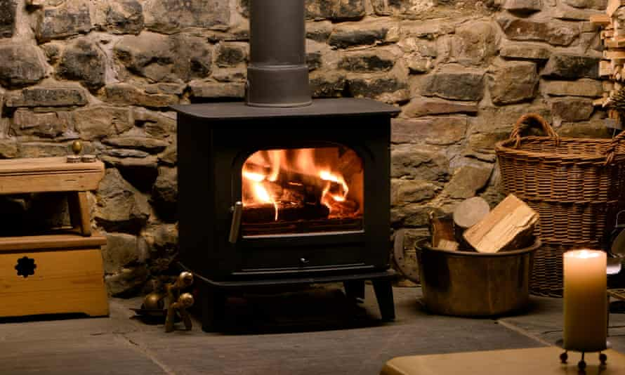 Roaring fire in wood-burning stove