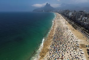 Aerial view of the crowded Ipanema beach in Rio de Janeiro, Brazil, on 13 September 2020.