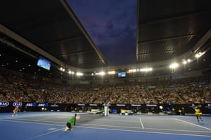 Serena plays a forehand return at the Rod Laver Arena.