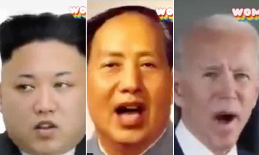 Kim Jong-un, Mao Zedong and Joe Biden 'sing' on the AI app Wombo.