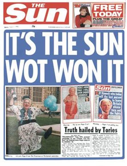 The Sun's 1992 'It's the Sun wot won it' headline