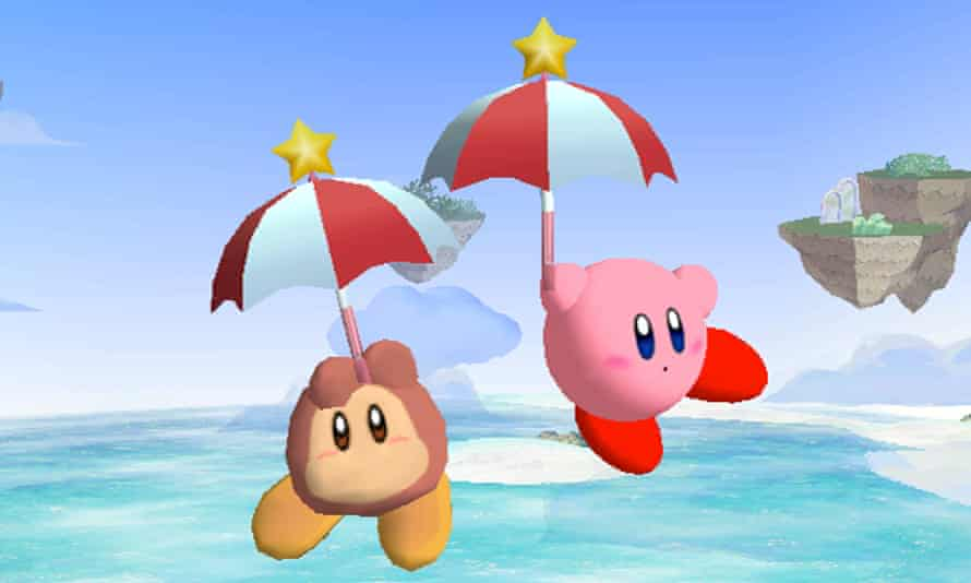 Waddle Dee (left) with Kirby and umbrella