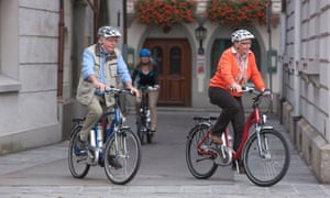 Couple on electric bicycles