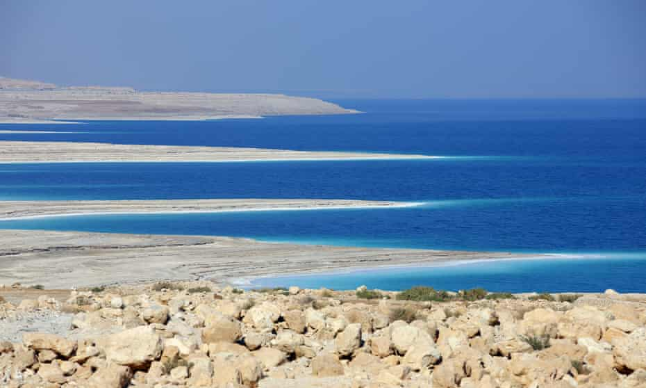 The Dead Sea at Ein Gedi in Israel, shows how the shoreline is shaped by the decline in water levels as a result of drought.