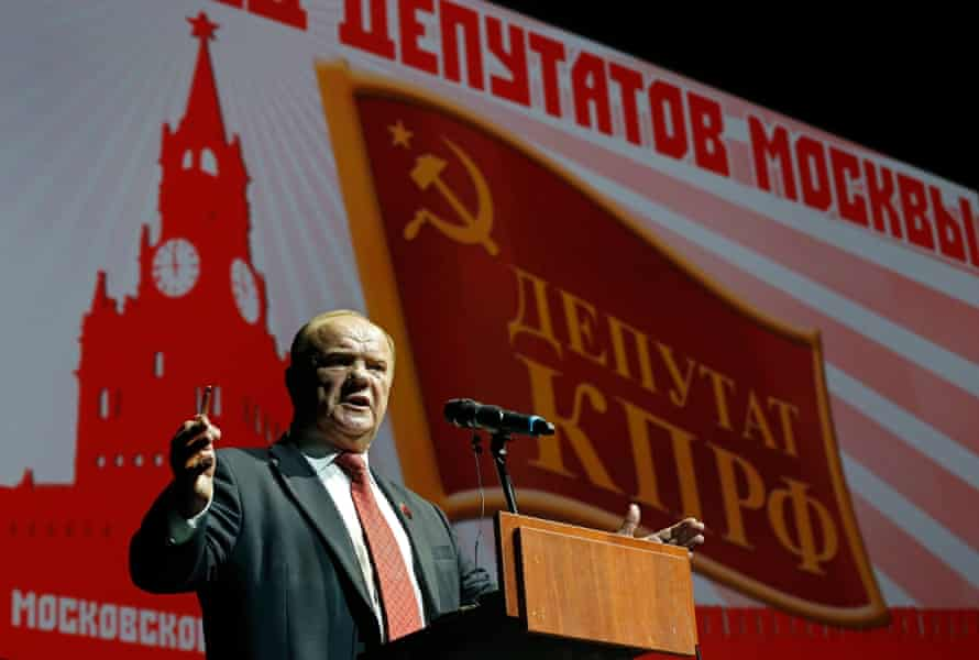 Russia's Communist party leader, Gennady Zyuganov, on the election campaign trail in Moscow.