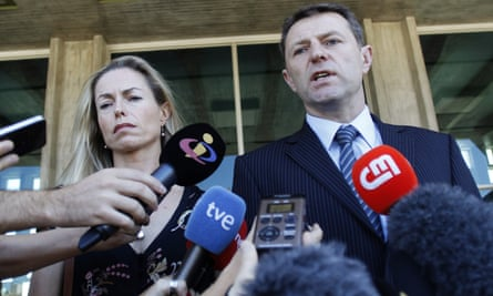 Kate and Gerry McCann talk to the media outside a court in Lisbon, July 2014.