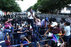Guayaquil, Ecuador. The presidential candidate Yaku Pérez addresses supporters outside the electoral council of Guayaquil. Yaku Pérez of the Pachakutik party and Guillermo Lasso of Creo are in a race for second place in the general elections
