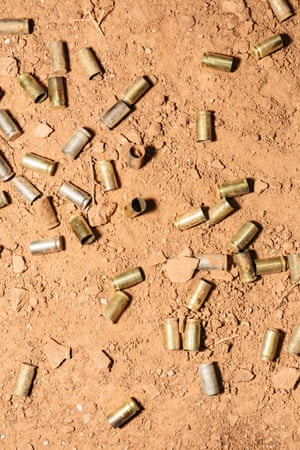 Shell casings during the class.