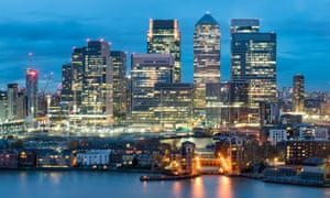 The financial district at Canary Wharf, London, England, UK