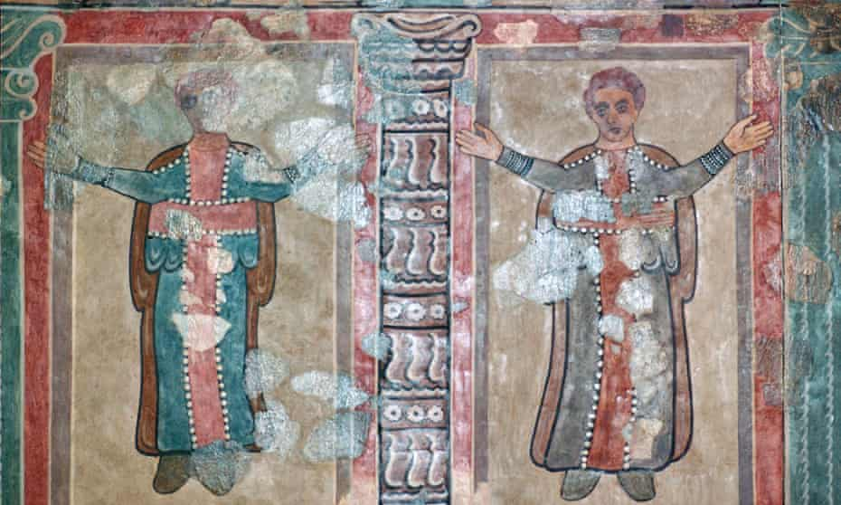 Part of a wall painting at Lullingstone Roman Villa showing early British christians at prayer from the 2nd century AD.