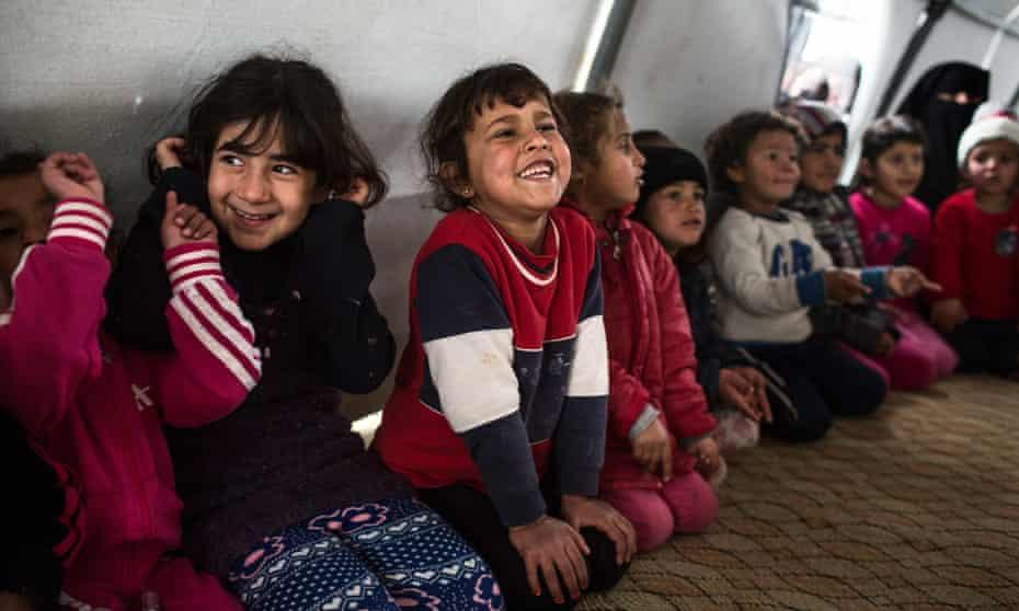 Syrian refugee children in a camp