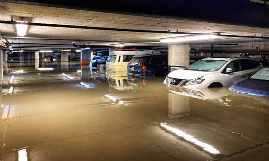 A flooded car parking in Hoboken, New Jersey