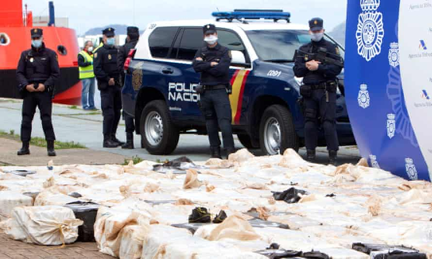 Spanish police with the seized cocaine
