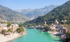 View of the Ganges and the city of Rishikesh, India.
