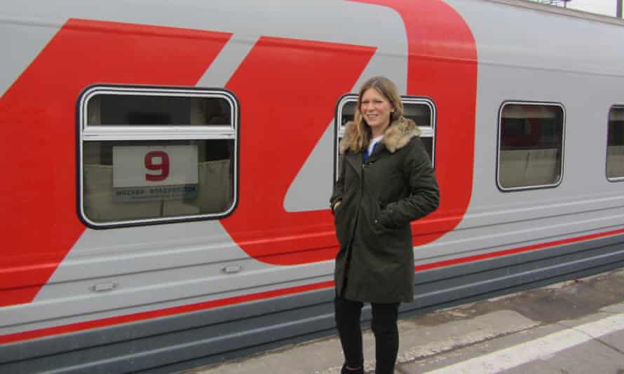 Caroline Eden about to board her train.