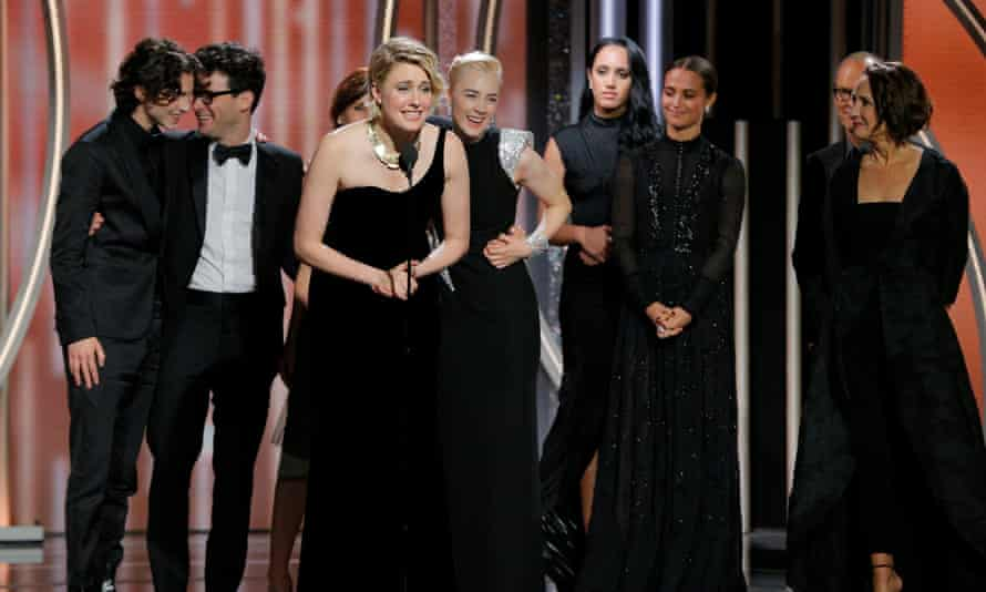 Greta Gerwig accepts the award for best film (musical or comedy) at the 2018 Golden Globes.