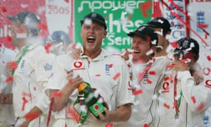 Andrew Flintoff leads the celebrations after England regained the Ashes at the Oval in 2005. At its peak, the series attracted 8.4m viewers on Channel 4; a decade later, the 2015 Ashes on Sky got just under 500,000.