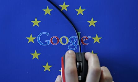 A computer mouse over the Google and European Union logos