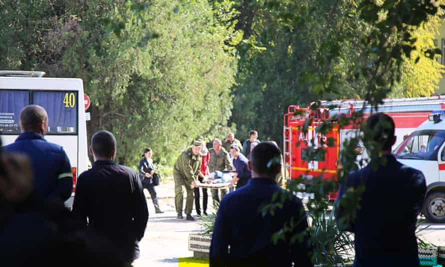 Emergency workers at the scene.