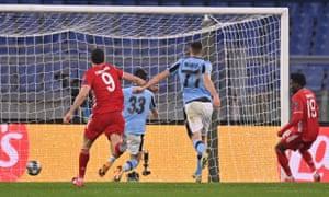 Francesco Acerbi of S.S. Lazio scores an own goal.