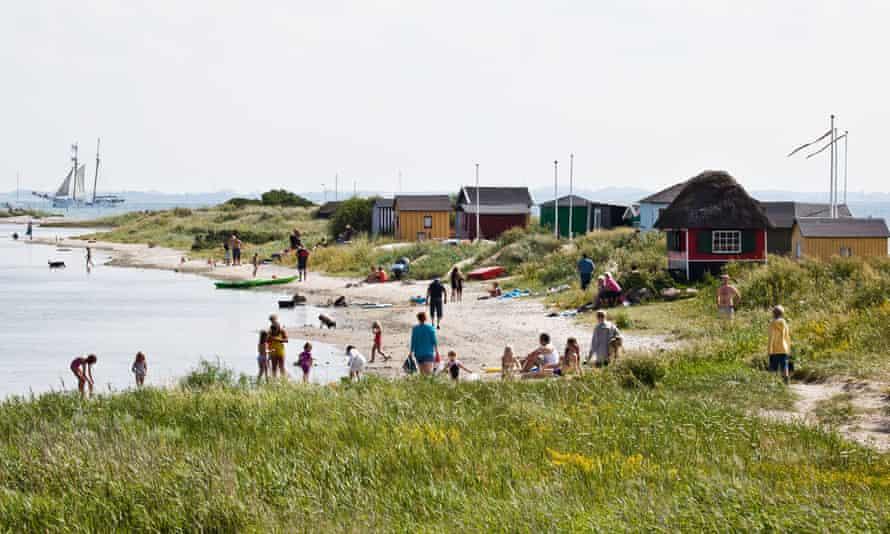 Beach huts at Erikshale, Ærø, Denmark.