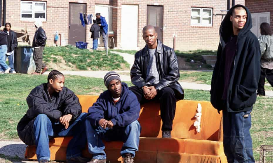 'Greek tragedy for the new millennium' … Michael B Jordan, Tray Chaney, Larry Gilliard Jr and JD Williams in season one of The Wire.