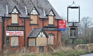 A closed down pub.