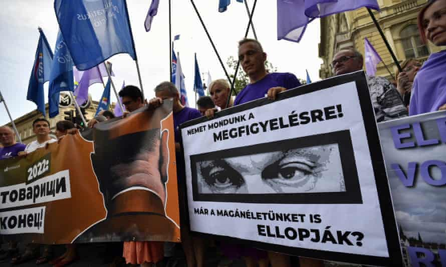 A protest in Budapest last week over the Hungarian government's use of Pegasus.